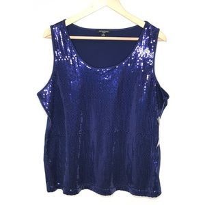 Notations Tank Sequined Royal Blue Sz 1X NWT